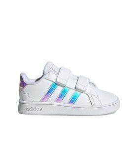 Zapatillas deportivas Grand Court rayas holográficas  BLANCO del 18-27